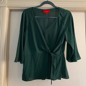 Jennifer Lopez Tops - Jennifer Lopez Green Wrap Tied Blouse